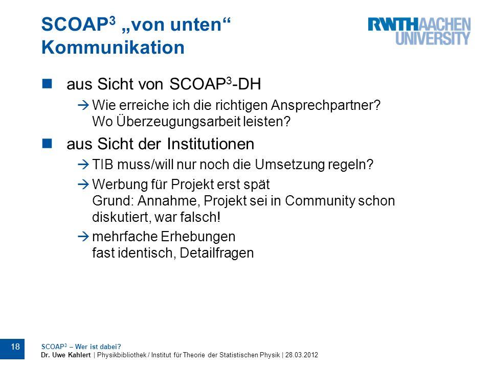"""SCOAP3 """"von unten Kommunikation"""
