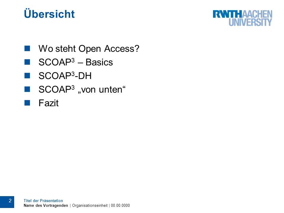 Übersicht Wo steht Open Access SCOAP3 – Basics SCOAP3-DH