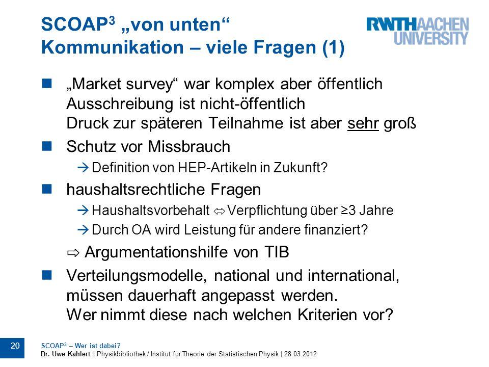 """SCOAP3 """"von unten Kommunikation – viele Fragen (1)"""