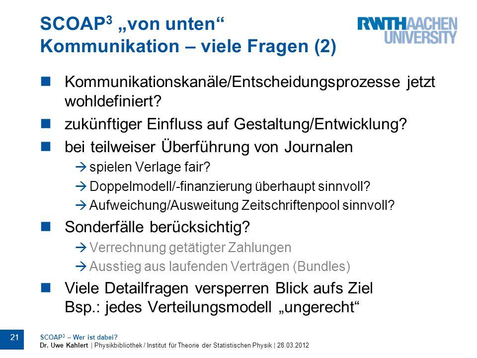 """SCOAP3 """"von unten Kommunikation – viele Fragen (2)"""