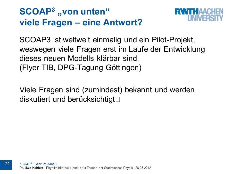 """SCOAP3 """"von unten viele Fragen – eine Antwort"""