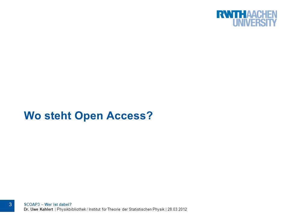 Wo steht Open Access SCOAP3 – Wer ist dabei