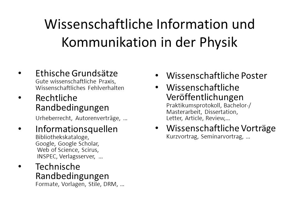 Wissenschaftliche Information und Kommunikation in der Physik