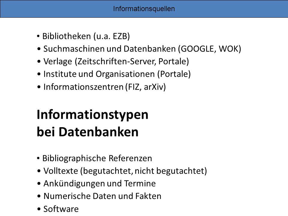 Informationstypen bei Datenbanken