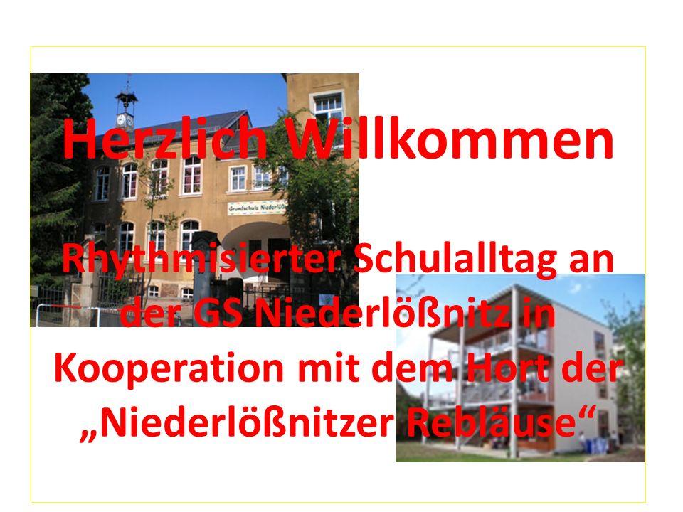 """Herzlich Willkommen Rhythmisierter Schulalltag an der GS Niederlößnitz in Kooperation mit dem Hort der """"Niederlößnitzer Rebläuse"""