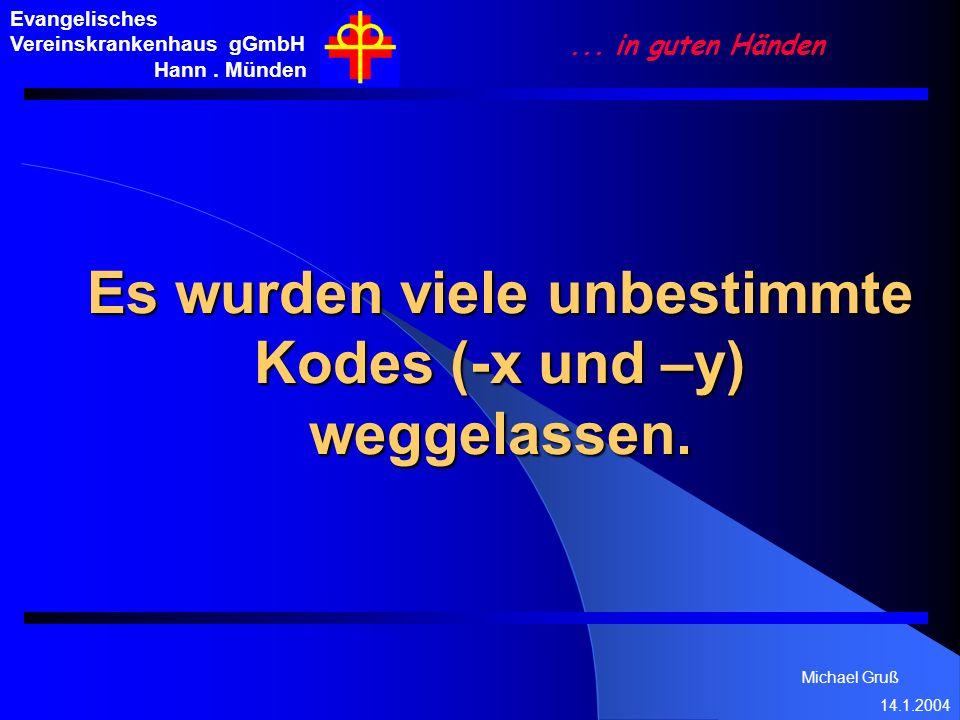 Es wurden viele unbestimmte Kodes (-x und –y) weggelassen.