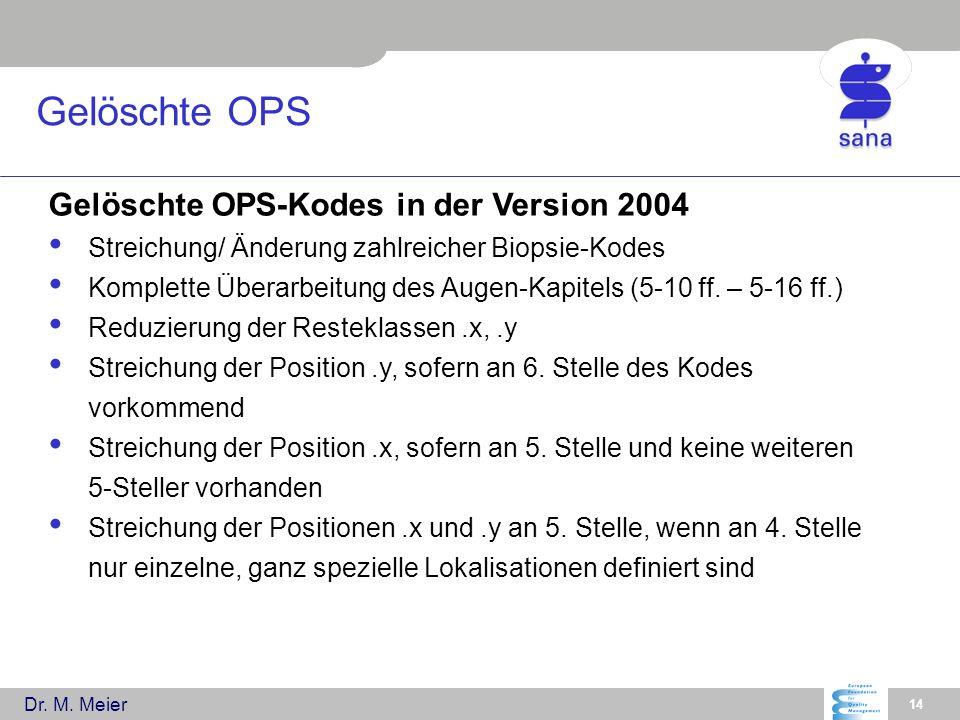 Gelöschte OPS Gelöschte OPS-Kodes in der Version 2004