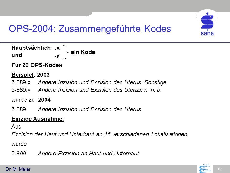 OPS-2004: Zusammengeführte Kodes