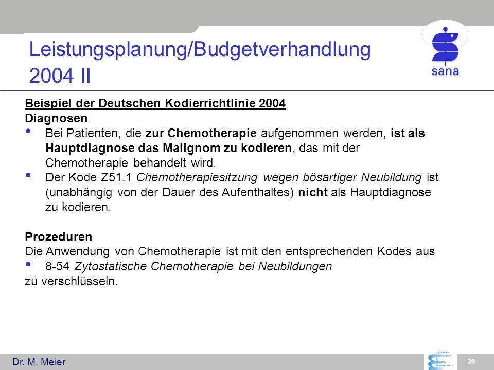 Leistungsplanung/Budgetverhandlung 2004 II