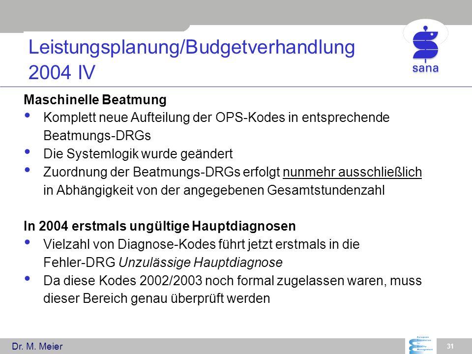 Leistungsplanung/Budgetverhandlung 2004 IV
