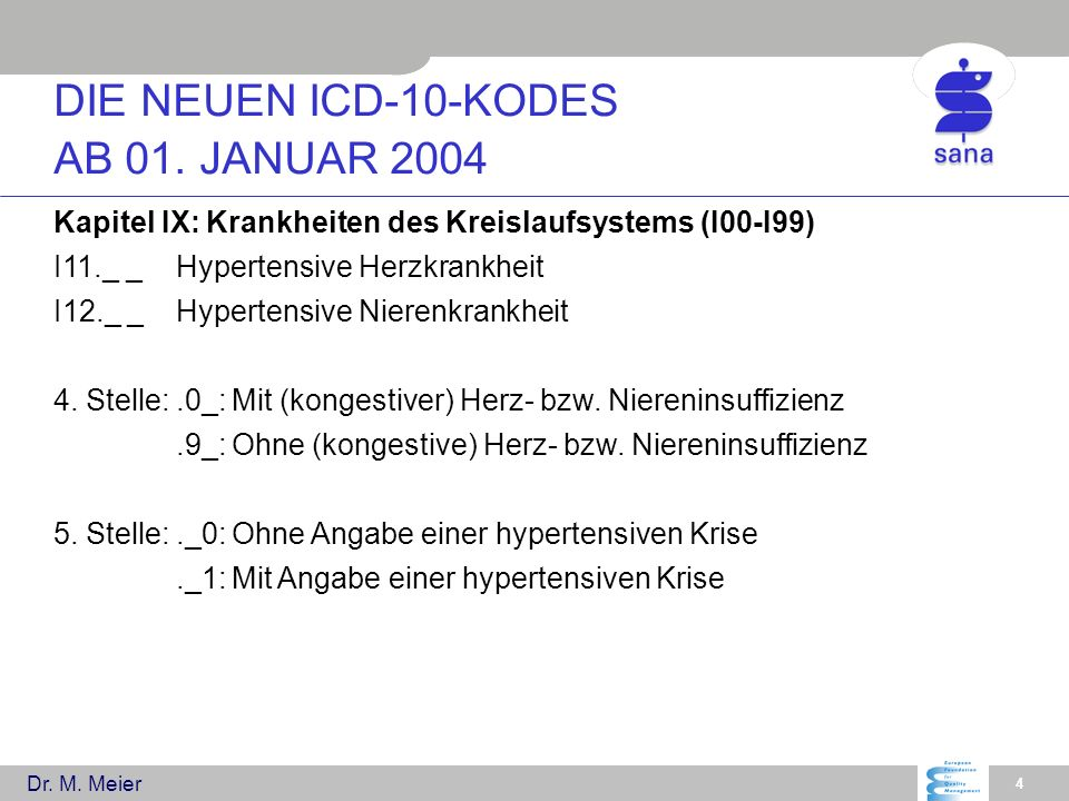 DIE NEUEN ICD-10-KODES AB 01. JANUAR 2004