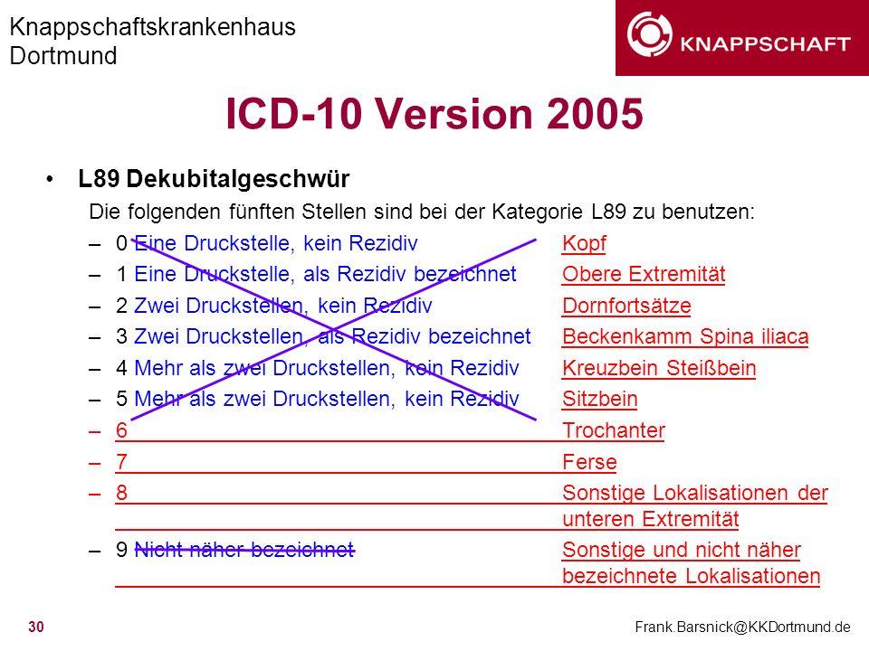 ICD-10 Version 2005 L89 Dekubitalgeschwür L89 Dekubitalgeschwür