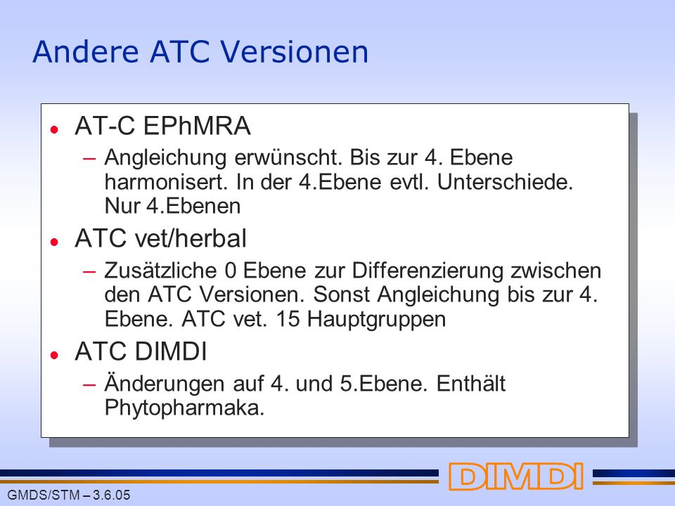 Andere ATC Versionen AT-C EPhMRA ATC vet/herbal ATC DIMDI