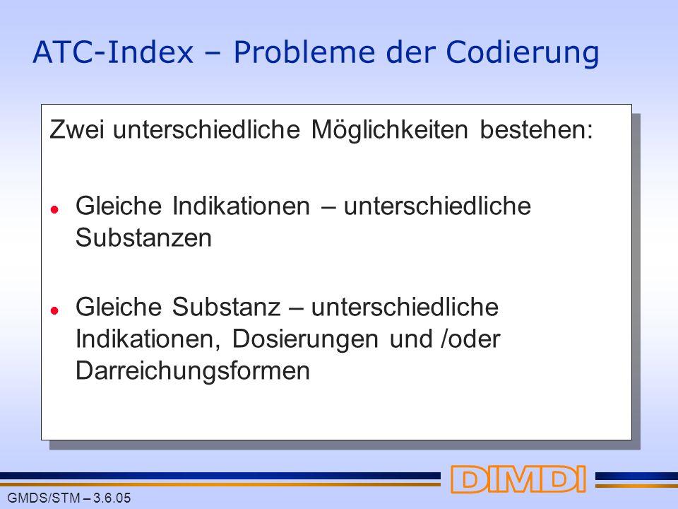 ATC-Index – Probleme der Codierung