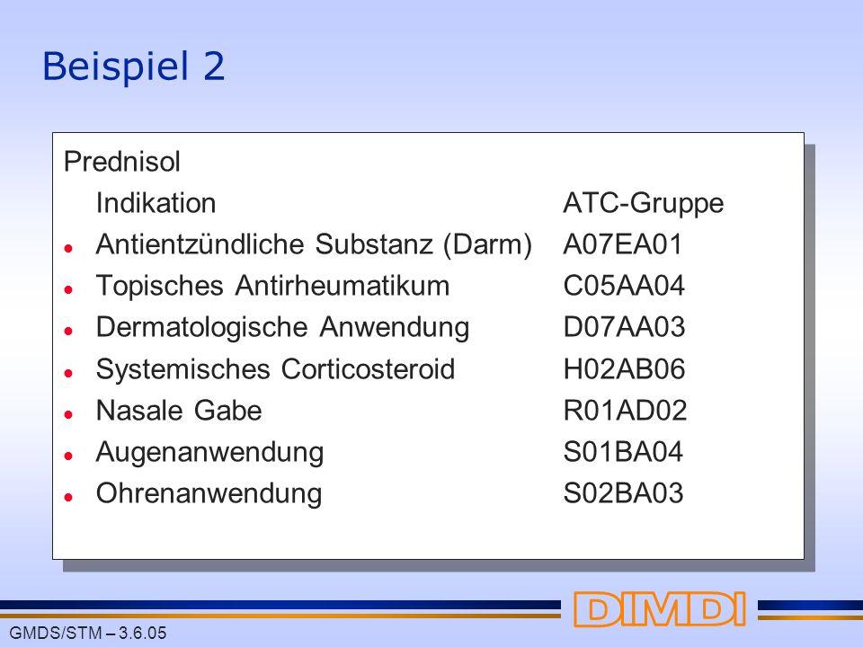 Beispiel 2 Prednisol Indikation ATC-Gruppe