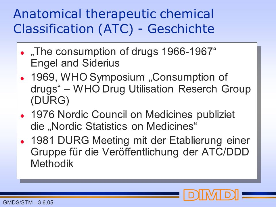Anatomical therapeutic chemical Classification (ATC) - Geschichte