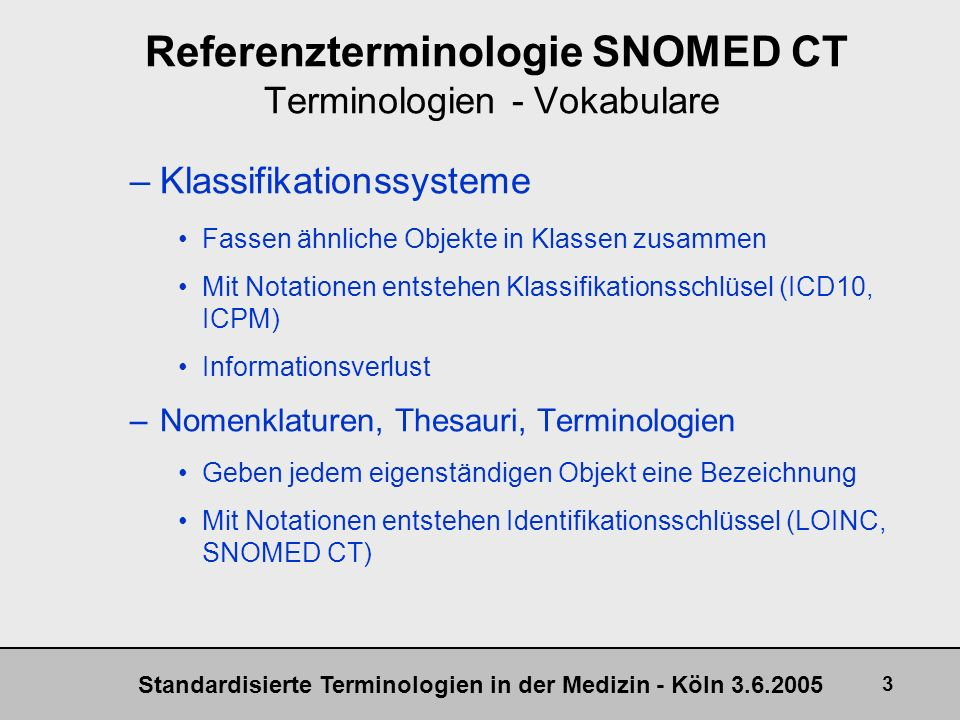 Referenzterminologie SNOMED CT Terminologien - Vokabulare