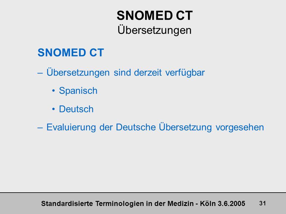 SNOMED CT Übersetzungen