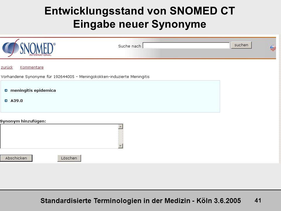 Entwicklungsstand von SNOMED CT Eingabe neuer Synonyme