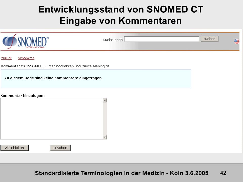 Entwicklungsstand von SNOMED CT Eingabe von Kommentaren