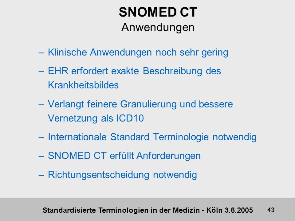 SNOMED CT Anwendungen Klinische Anwendungen noch sehr gering