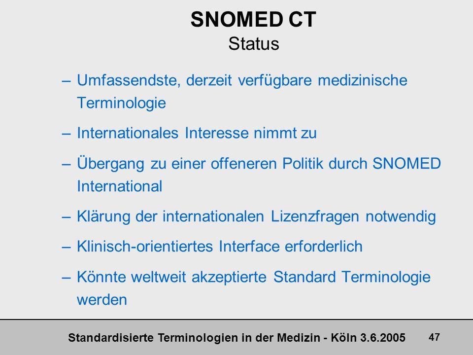 SNOMED CT Status Umfassendste, derzeit verfügbare medizinische Terminologie. Internationales Interesse nimmt zu.