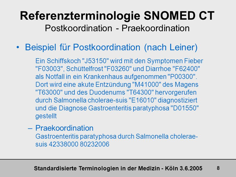 Referenzterminologie SNOMED CT Postkoordination - Praekoordination