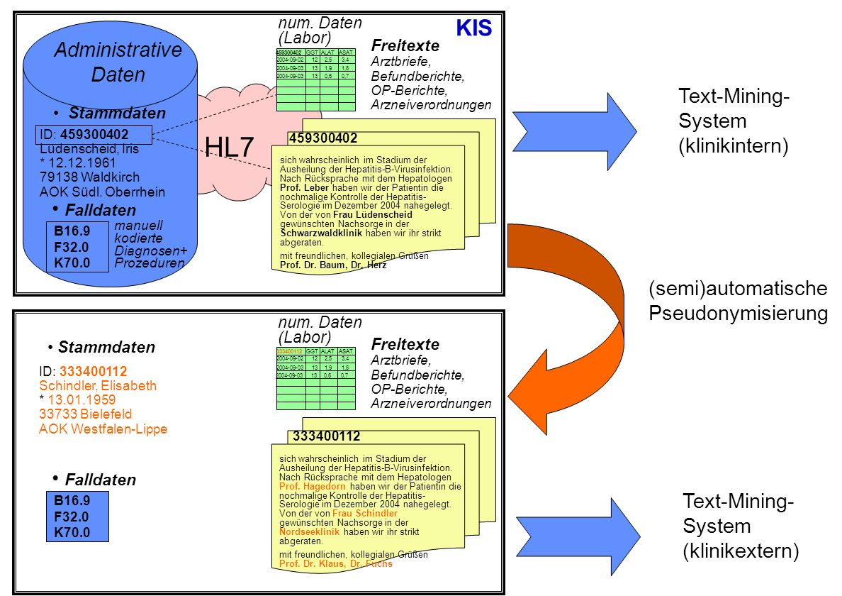 HL7 KIS Administrative Daten Text-Mining- System (klinikintern)