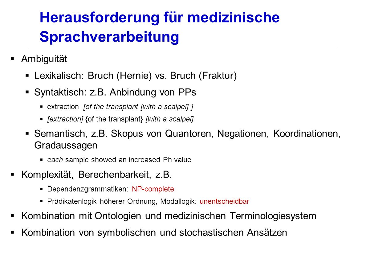 Herausforderung für medizinische Sprachverarbeitung