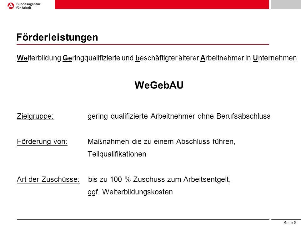 Förderleistungen WeGebAU
