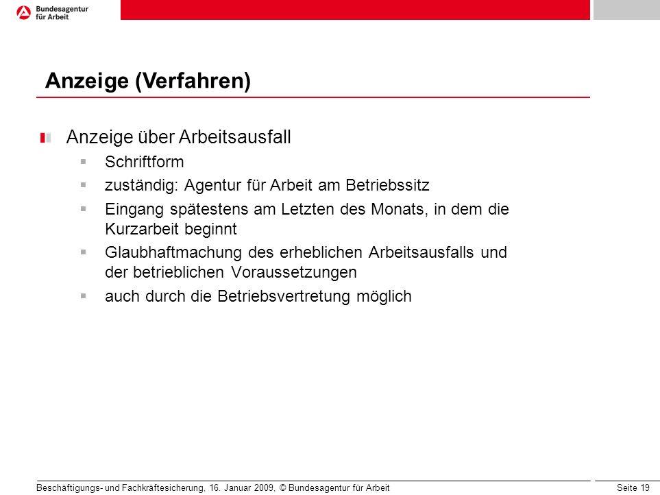 Anzeige (Verfahren) Anzeige über Arbeitsausfall Schriftform
