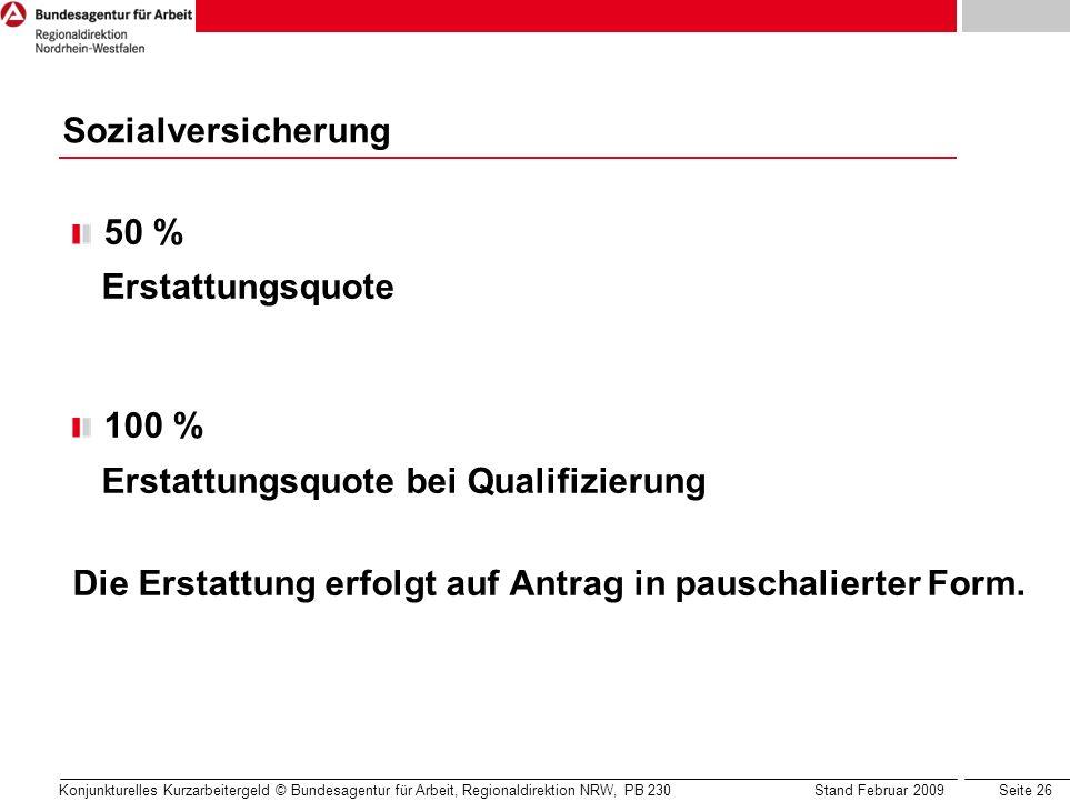 Erstattungsquote bei Qualifizierung