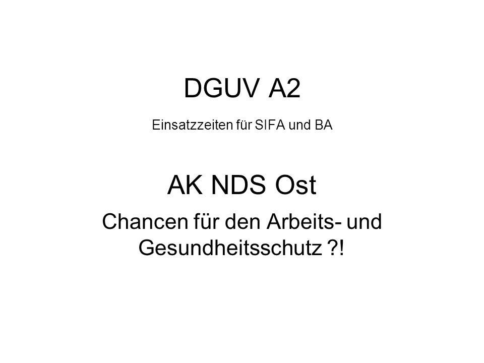 DGUV A2 Einsatzzeiten für SIFA und BA AK NDS Ost