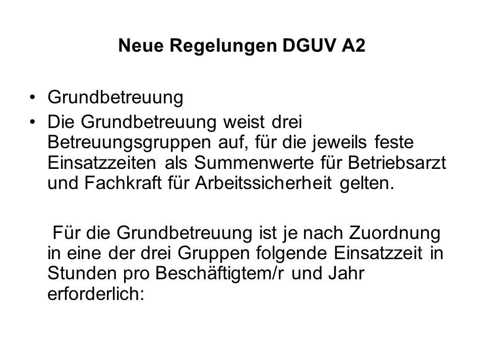 Neue Regelungen DGUV A2 Grundbetreuung.