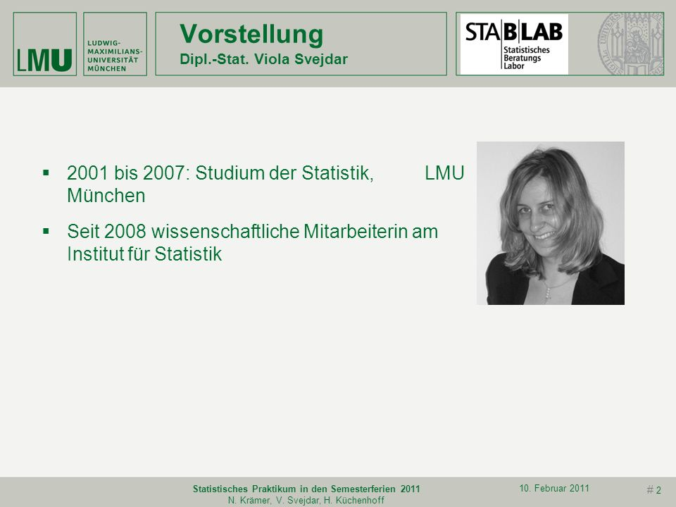 Vorstellung Dipl.-Stat. Viola Svejdar