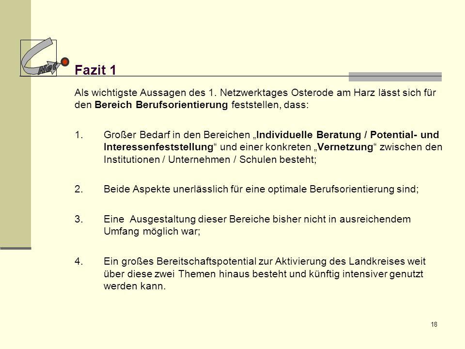 Net Fazit 1. Als wichtigste Aussagen des 1. Netzwerktages Osterode am Harz lässt sich für den Bereich Berufsorientierung feststellen, dass: