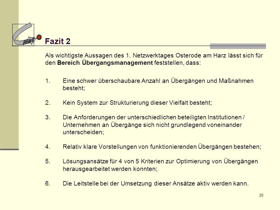 Net Fazit 2. Als wichtigste Aussagen des 1. Netzwerktages Osterode am Harz lässt sich für den Bereich Übergangsmanagement feststellen, dass: