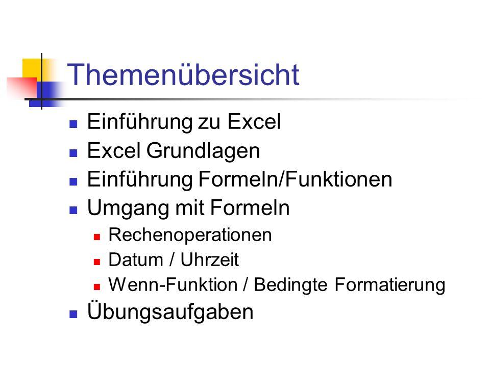 Themenübersicht Einführung zu Excel Excel Grundlagen