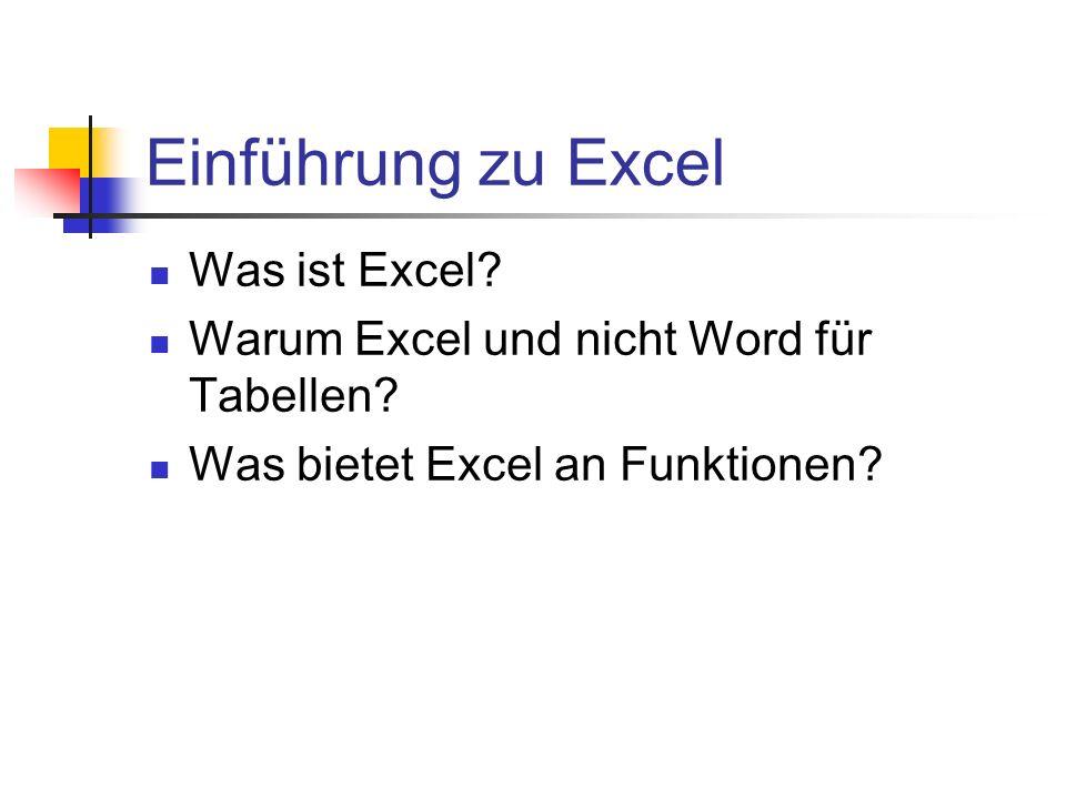 Einführung zu Excel Was ist Excel