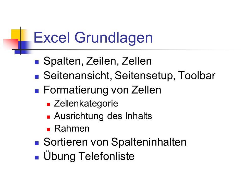 Excel Grundlagen Spalten, Zeilen, Zellen