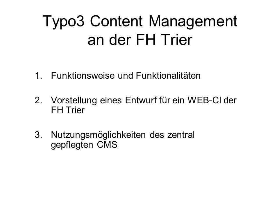 Typo3 Content Management an der FH Trier