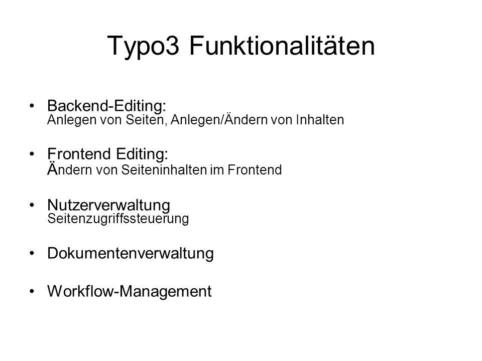 Typo3 Funktionalitäten