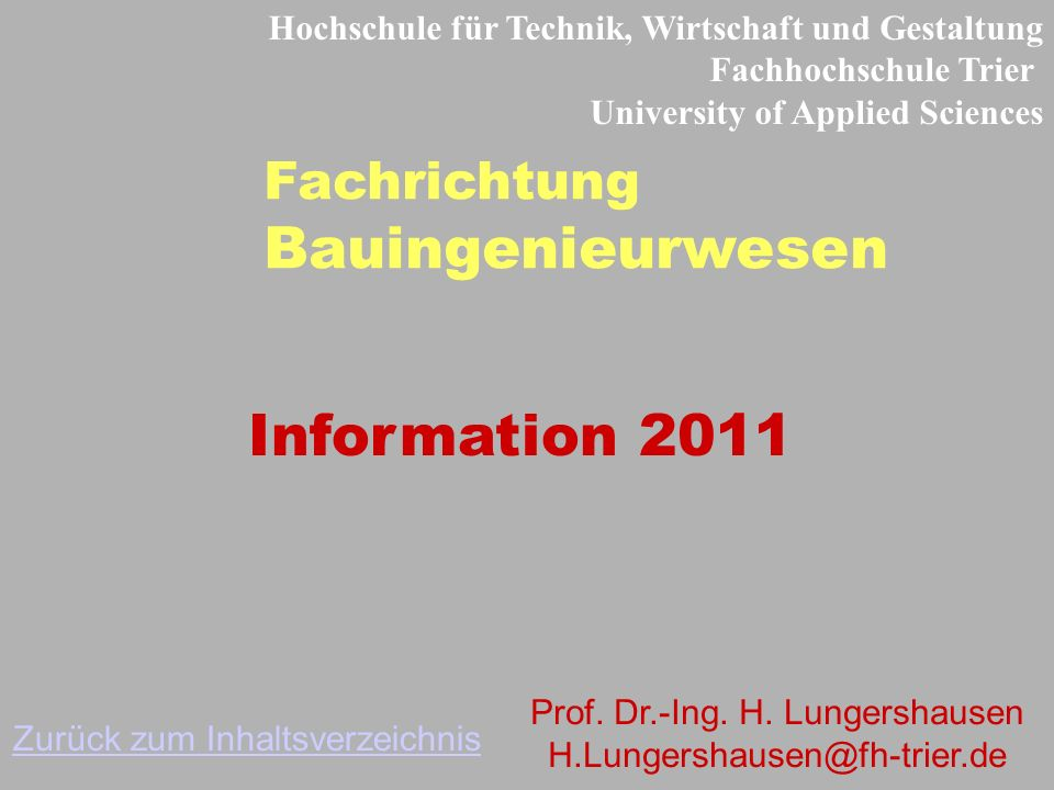 Bauingenieurwesen Information 2011 Fachrichtung