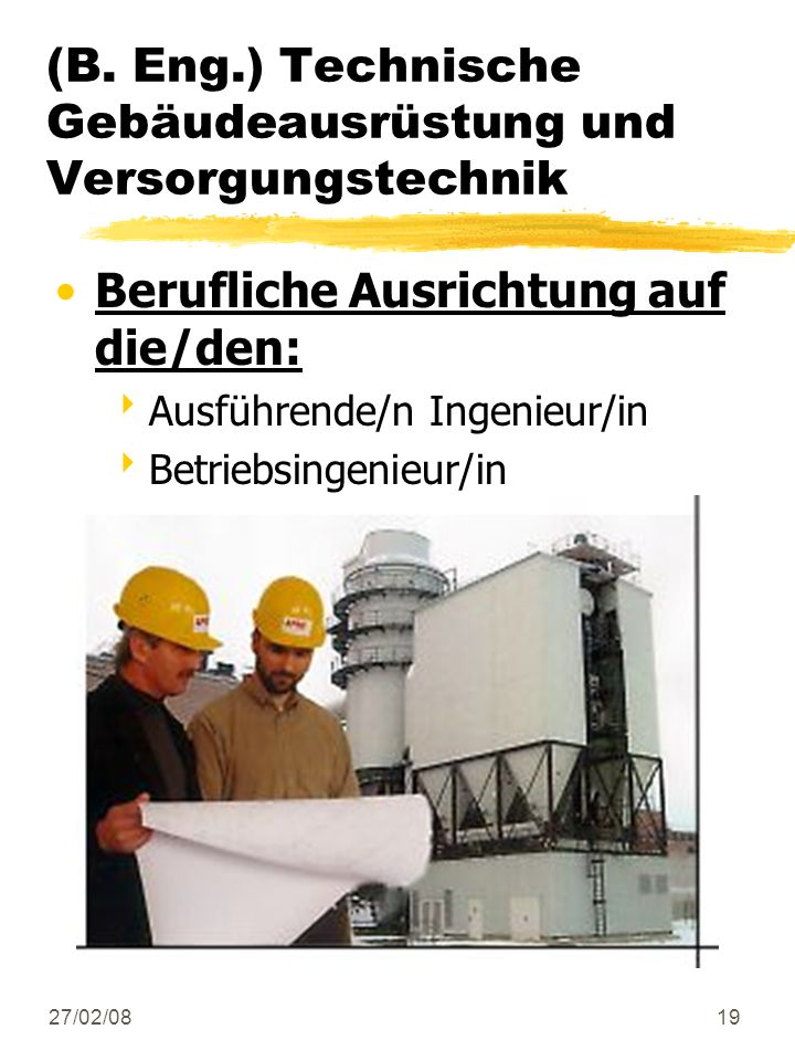 (B. Eng.) Technische Gebäudeausrüstung und Versorgungstechnik