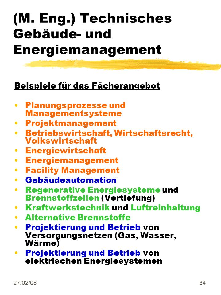 (M. Eng.) Technisches Gebäude- und Energiemanagement