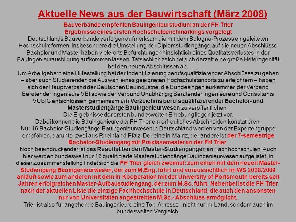 Aktuelle News aus der Bauwirtschaft (März 2008)