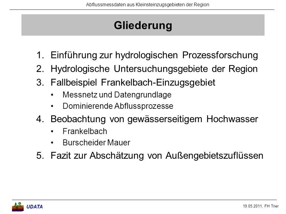 Gliederung Einführung zur hydrologischen Prozessforschung