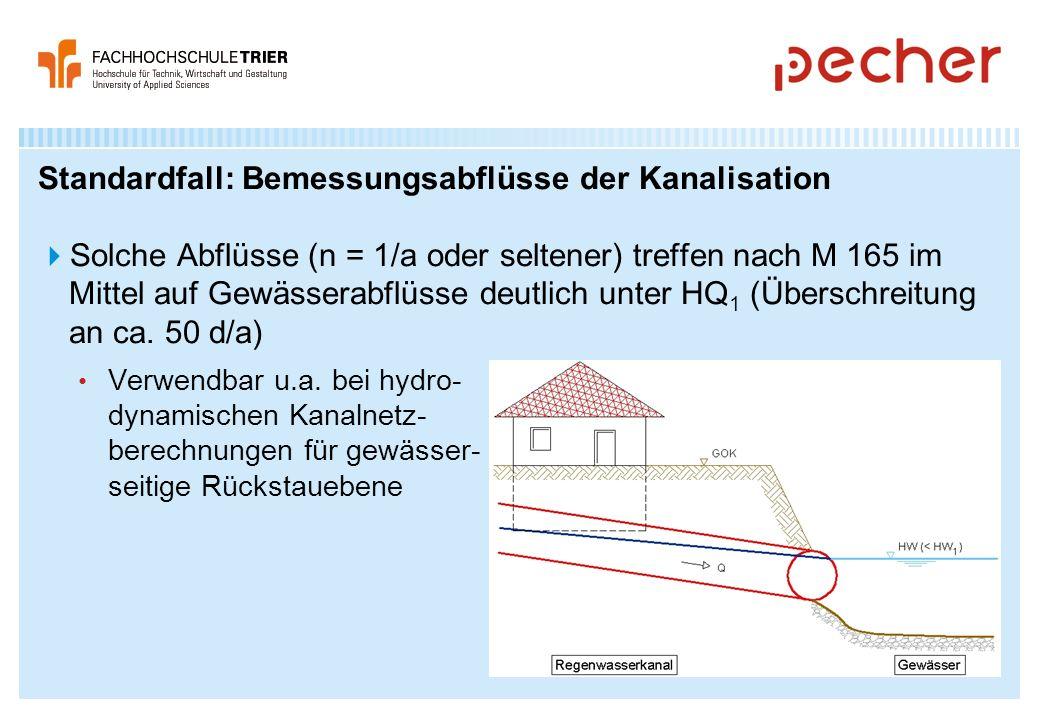 Standardfall: Bemessungsabflüsse der Kanalisation
