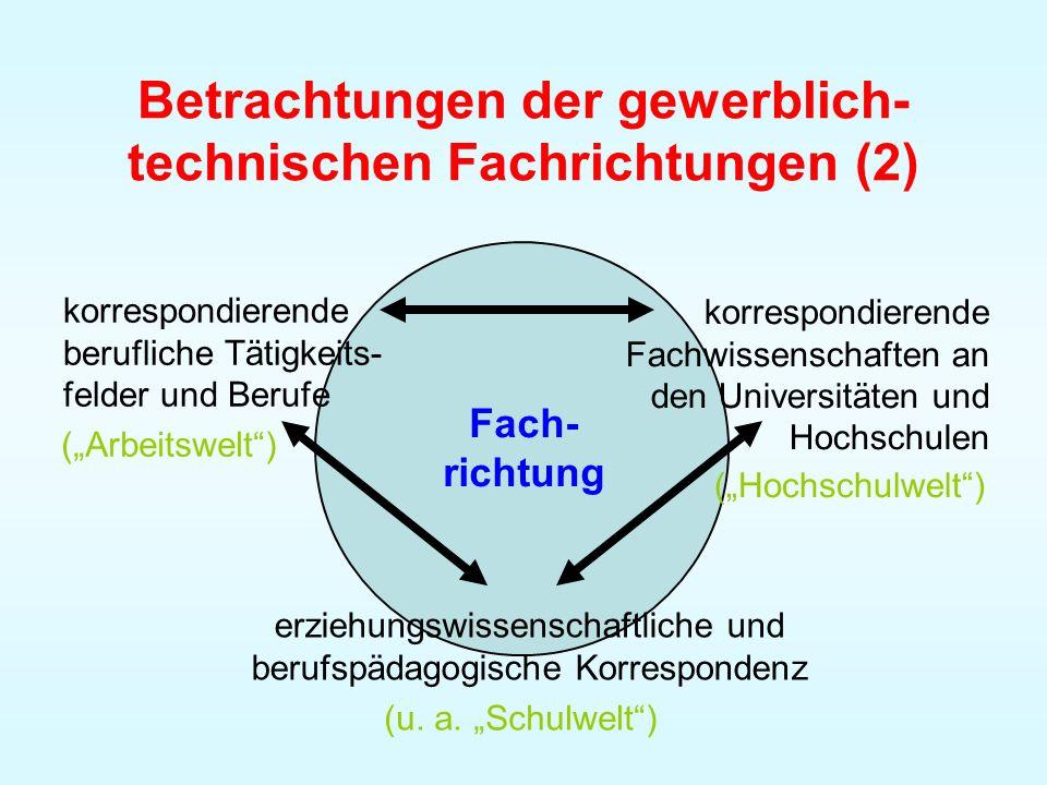 Betrachtungen der gewerblich-technischen Fachrichtungen (2)