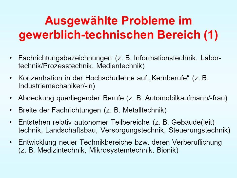 Ausgewählte Probleme im gewerblich-technischen Bereich (1)